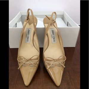 Jimmy Choo patent leather Carmel color heels